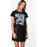 Suedette & Leather Look Panelled Mini Skirt - black