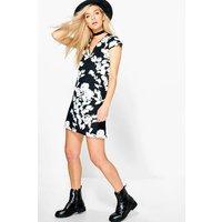 Mono Print Shift Dress - black