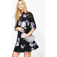 Floral High Neck Swing Dress - black