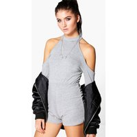 Cold Shoulder Sweater Style Playsuit - grey
