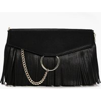 Circle & Fringed Cross Body Bag - black