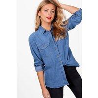 Oversize Denim Shirt - mid blue