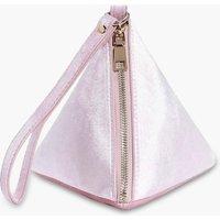 Velvet Pyramid Handstrap Clutch Bag - blush