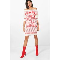 Slash Neck Filthy Animal Christmas Jumper Dress - cream