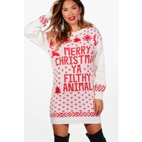 Merry Christmas Ya Filthy Animal Jumper Dress - cream