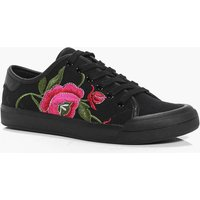 Floral Embroidered Lace Up Trainer - black
