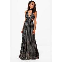 Polka Dot Neck Tie Maxi Dress - black