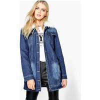 Lined Faux Fur Collar Denim Jacket - mid blue