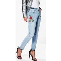 Embroidered Slim Fit Boyfriend Jeans - blue