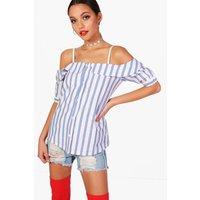 Cold Shoulder Striped Shirt - blue