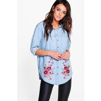 Oversized Distressed Embroidered Denim Shirt - blue