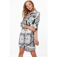 Mono Print Woven Shirt Dress - multi