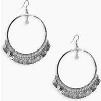 Coin Embellished Hoop Earrings - silver