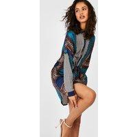 Paisley Shirt Dress - teal