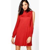 High Neck Split Sleeve Swing Dress - chestnut