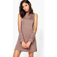 High Neck Split Sleeve Swing Dress - mocha