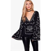 Boutique Embroidered Woven Wide Sleeve Top - black