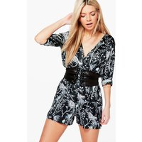 Floral Print Satin Playsuit - black