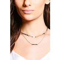Chain And Skinny Bar Choker - gold