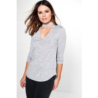 Melange Choker Knitted Top - grey