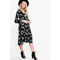 Ruffle Midi Tea Dress - black