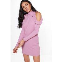 High Neck Frill Detail Open Shoulder Shift Dress - lilas