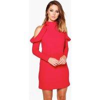 High Neck Frill Detail Open Shoulder Shift Dress - red