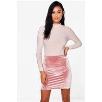 Roll Neck Slinky Body Velvet Skirt Co-Ord - rose