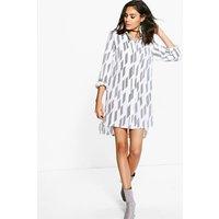 Stripe Shirt Dress - white