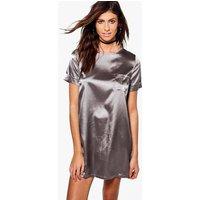 Satin Pocket Shift Dress - silver