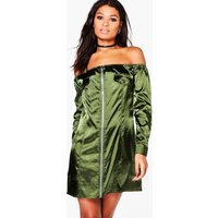 Off Shoulder Satin Shift Dress - green