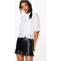 Crochet Lace Shell Top - white