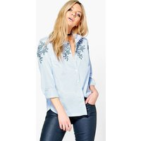 Embroidered Striped Shirt - blue