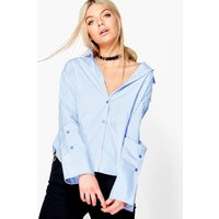Striped Contrast Cuff Shirt - blue