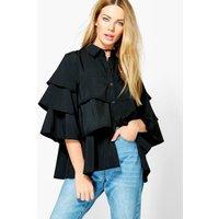 boohoo Ruffle Tiered Shirt - black
