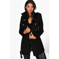 Military Wool Look Coat - black