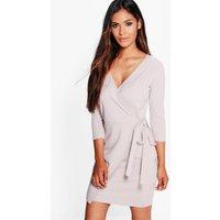 Wrap Tie Front Dress - dove