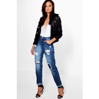 High Rise Ripped Boyfriend Jeans - mid blue