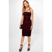 Velvet Flock Strappy Bodice Midi Dress - berry