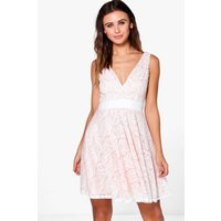 Plunge All Over Lace Skater Dress - cream