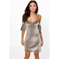 Velvet Open Shoulder Shift Dress - grey