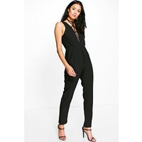 Deep Plunge Strappy Choker Jumpsuit - black