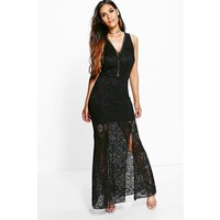 Isla Lace V-Neck Maxi Dress - black