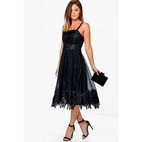 Em Mesh Lace Midi Skater Dress - black