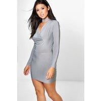 Choker Slinky Cowl Bodycon Dress - silver