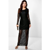All Over Lace Long Sleeve Midi Bodycon Dress - black