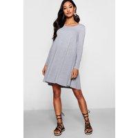 Basic Long Sleeve Swing Dress - grey
