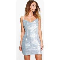 Inya Sequin Cowl Neck Slip Dress - silver