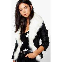 Boutique Faux Fur Trim Biker Jacket - white