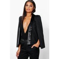 Tailored Tuxedo Cape Blazer - black